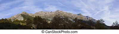 Athamanika Mountain range Panorama in Autumn.