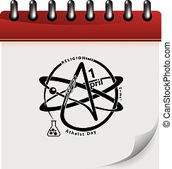 Atheist calendar day - Calendar page with symbols for...