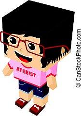 atheist girl cartoon mascot - atheism theme - against...