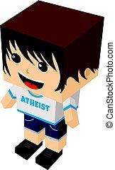 atheist guy cartoon mascot - atheism theme - against...