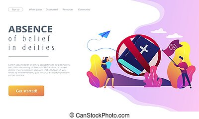 Atheistic world view concept landing page. - Tiny people...