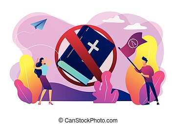 Atheistic world view concept vector illustration.