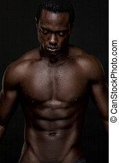 atheletic, afrikanischer amerikanischer mann, oben ohne