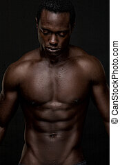 atheletic, américain, africaine, topless, homme