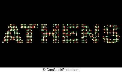 athen, leuchtdiode, text