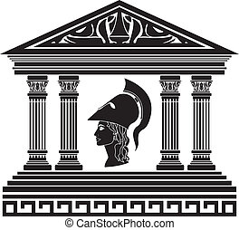 athena., aftekenmal, tempel
