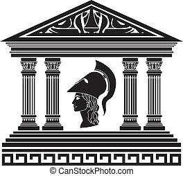athena., estêncil, templo