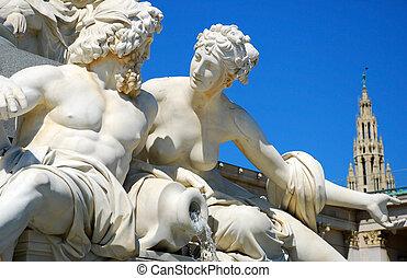 athena, -, estatua, viena