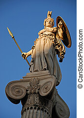 Athena god statue in front of Athens university during...