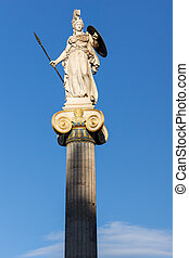 Athena goddess statue in front of Academy of Athens, Attica,...