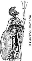 Athena Greek Goddess - An illustration of the mythological...
