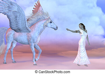 Athena Greek Goddess and Pegasus