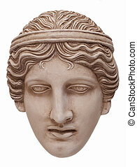 Athena mask - Greek traditional white mask frontal