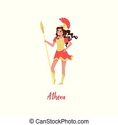 Athena Olympian Greek Goddes, ancient Greece myths cartoon character vector Illustration on a white background