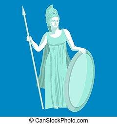 Athena or Athene marble statue on blue background. Pallas goddess