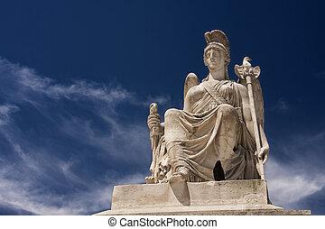 athena sculpture in carrusel square, in paris