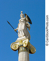 Athena statue at the main entrance of the Academy of Athens, Greece.