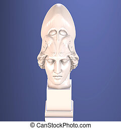 Athena - Statue of athena, with Clipping Path