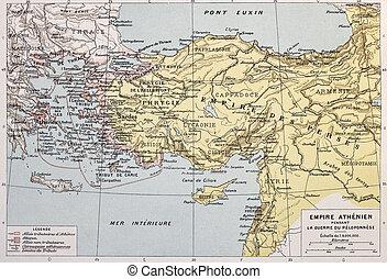 Athenian empire old map. By Paul Vidal de Lablache, Atlas...