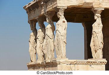 athens., acropolis, caryatids, columns., griekenland