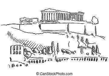 Athens Acropolis Greece Vintage Sketch, Famous Destination...
