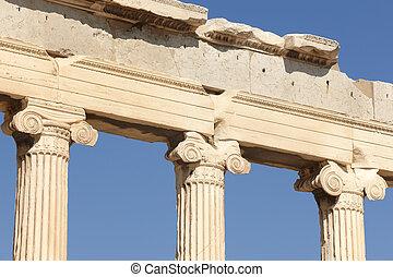 athens., acropolis, griekenland, columns., erechtheion
