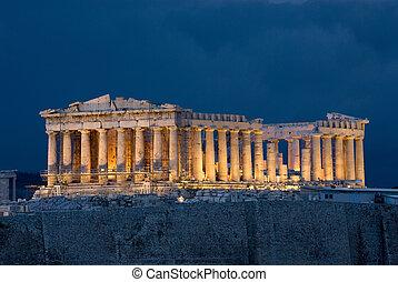 Athens Acropolis Parthenon - Parthenon at night on Acropolis...