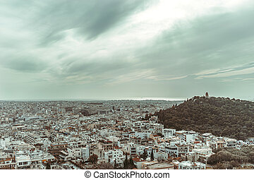Athens aerial view with the sea and Filopappou Hill, Greece, Europe