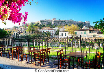 Athens and Acropolis - Roman Forum and Acropolis hill with...