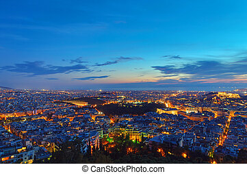 View over Athens after sunset from Mount Lycabettus