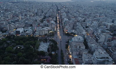 Athens at dusk, aerial view