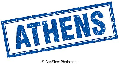 Athens blue square grunge stamp on white