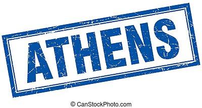 Athens blue square grunge stamp on white