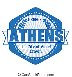Athens capital of Greece label or stamp