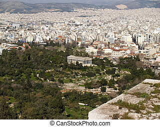 Athens city and Temple of Hephaestus