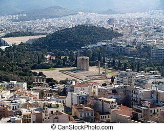 Athens city and Temple of Zeus hill