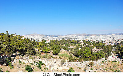 Athens city from Acropolis hill, Greece