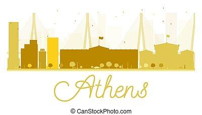 Athens City skyline golden silhouette.