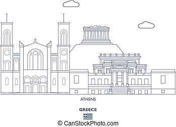 Athens City Skyline, Greece - Athens Linear City Skyline,...