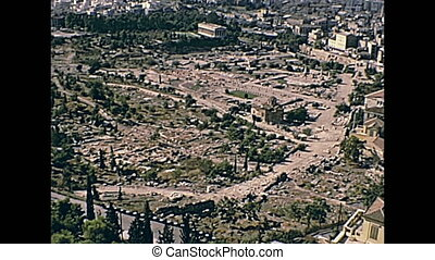 Athens Efesto temple - Ancient Athens Agora aerial view from...