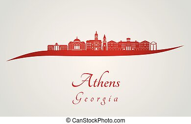 Athens GA skyline in red