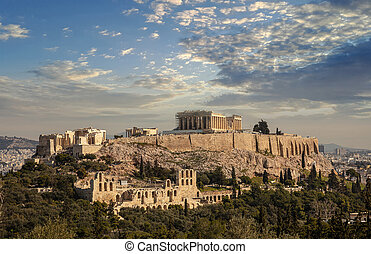 Athens, Greece. Acropolis and Parthenon temple from Philopappos Hill.