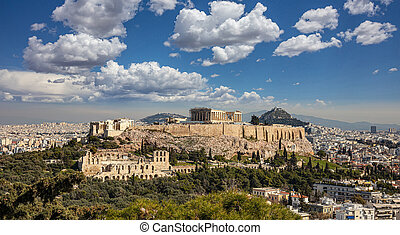 Athens, Greece. Acropolis and Parthenon temple from ...