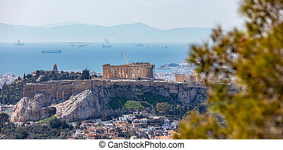 Athens, Greece. Acropolis and Parthenon temple, view from Lycabettus Hill.