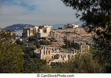 , - Athens, Greece. Acropolis. Propylaea or propylea, ...