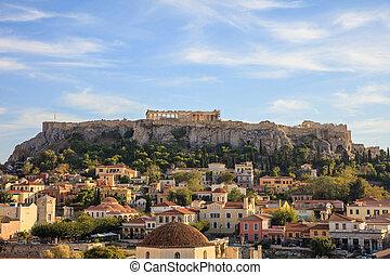 Athens, Greece. Acropolis rock and Monastiraki