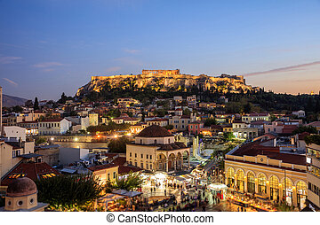 Athens, Greece. Acropolis rock and Monastiraki square