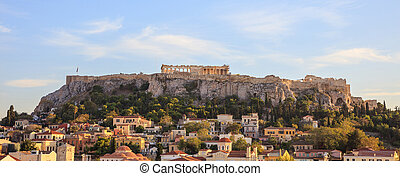 Athens, Greece. Acropolis rock and Plaka