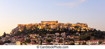 Athens, Greece. Acropolis rock and Plaka early in the morning