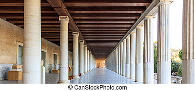 Athens, Greece. Ancient Agora, Attalus stoa - Athens,...
